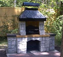 барбекю печь из природного камня