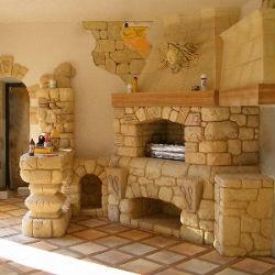 кирпичная барбекю печь с камином
