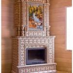 в интерьере деревянного дома угловой камин