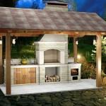 садовая барбекю из кирпича