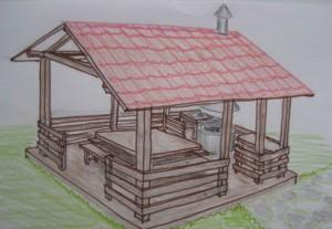 перед строительство летней кухни сделайте примерный чертеж или эксиз