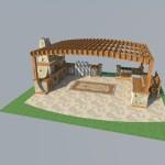 Патио зона с печкой барбекю для ресторана