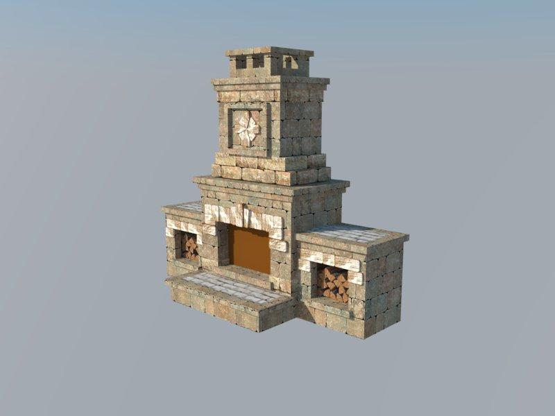 3D Max Модель Камин