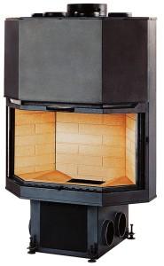 Примзатический камин с дверцей вертикального открывания