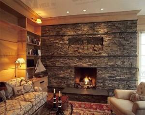 Камин в кантри стиле как центр комнаты